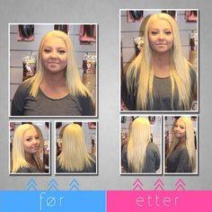 LuxushairMarthe før og etter påsetting av LuxusHair ClipOn Maxi 50 cm i farge #60. Sjekk ut utvalget vårt på luxushair.no 😊✌️ Keratin, Hair Extensions, Weave Hair Extensions, Extensions Hair, Extensions
