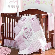 Little Princess Four-Piece Bedding Set. Your little girl will sleep like royalty with this adorable pink and white Little Princess nursery collection.