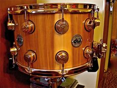 My special order from DW - 9x14 Birch Snare with Exotic Red Gum and Gold Hardware.