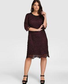 Vestido de encaje de mujer talla grande Talla y Moda en morado