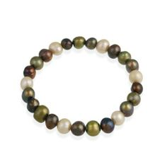 Genuine Freshwater Cultured 8x10mm Coffe Mix Multi Color Pearl Stretch Bracelet SilverSpeck. $5.99. Save 60% Off!