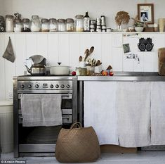 Kristin's freestanding kitchen is simple and practical