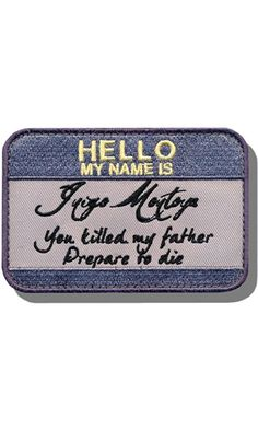 """[Single Count] Custom and Unique (2.5"""" x 3"""") Rectangle """"Funny Comedy"""" My Name Is Inigo Montoya Princess Bride Embroidered Applique Patch {Purple, Black, & Yellow Colors} [Licensed]"""