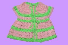 1960s watermelon crochet dress for 2-year-old child