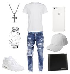 """Swag"" by savage61plus ❤ liked on Polyvore featuring Dsquared2, NIKE, David Yurman, Burberry, men's fashion and menswear"