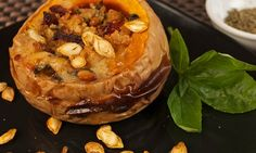 Mozzarella, Tomato and Pinenut stuffed Pumpkin - ideal as a vegetarian Christmas dish