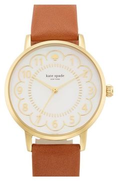 Women's kate spade new york 'metro' scalloped dial leather strap watch, 34mm - Luggage Brown/ Gold