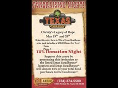 Texas Roadhouse Flyer.  Print this and bring it on May 19 & 20th.