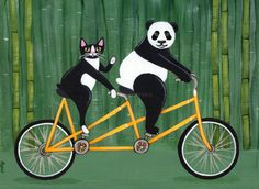 Panda and Cat Bicycle Ride Folk Art Painting by Kilkennycat - Ryan Conners