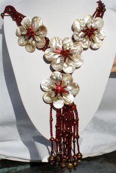 Iris G Huge Runway Ruby Red Crystal Bead Huge Shell Flower Fringe Necklace OOAK | eBay