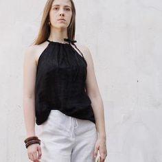 Grey Natural Linen Top FOG Linen Blouse Summer Top Natural | Etsy Sewing Summer Dresses, Fog Linen, Linen Blouse, Natural Linen, Basic Tank Top, Tank Tops, Trending Outfits, Grey, Clothes
