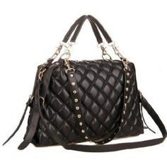 a8875b517d72 Black Trendy Diamond Quilted Versatile Studded Straps Office Tote Rivet  Hobo with Free Silver Knot Bangle