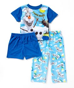 This Blue Olaf 'I Love Heat' Three-Piece Pajama Set - Toddler by Frozen is perfect! #zulilyfinds