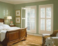 white plantation shutters .   Helping prevent allergies.  Minimizing fabric, dust collecting curtains.