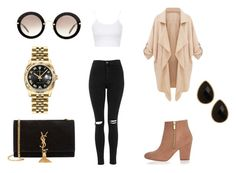 """""""Classy"""" by nataliaauguscik ❤ liked on Polyvore featuring Topshop, River Island, Yves Saint Laurent, Miu Miu, Natasha Accessories, Rolex, women's clothing, women, female and woman"""