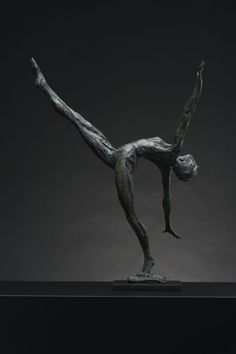 #Bronze #sculpture by #sculptor Keith Calder titled: 'Layback female Dancer (Small/Little nude Ballet statuettes)'. #KeithCalder