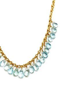 Estate Aquamarine Briolette & Rondelle Necklace by Estate Fine Jewelry