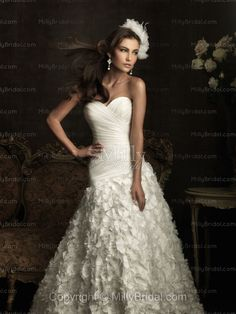 A-Line Sweetheart Pleating Organza Chapel Train Wedding Dress at Millybridal.com