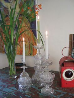 cut glass candle stick towers variation