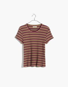 Madewell Womens Ribbed Baby Tee In Stripe Fancy Tops, T Shirts For Women, Clothes For Women, Fall Wardrobe, Plus Size Fashion, Madewell, Short Sleeves, My Style, Tees