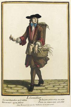 """1675-1685 French Fashion plate """"Recueil des modes de la cour de France, 'L'Escaillier'"""" at the Los Angeles County Museum of Art, Los Angeles"""