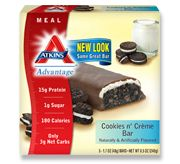 Atkins Cookies n' Crème Bar.  A crunchy cookie layer topped with cream and coated in chocolate.