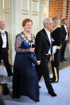 Finlands President Mrs Tarja Halonen and her husband Juris Doktor Pentti Arajärvi attend the wedding ceremony between Crown Princess Victoria of Sweden and Daniel Westling at Stockholm Cathedral on June 19, 2010 in Stockholm, Sweden.