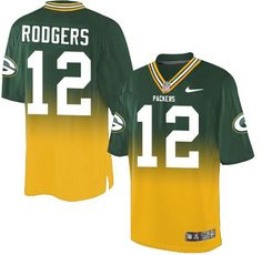 Nike Aaron Rodgers Men's Green/Gold Elite Jersey: #12 NFL Green Bay Packers Fadeaway