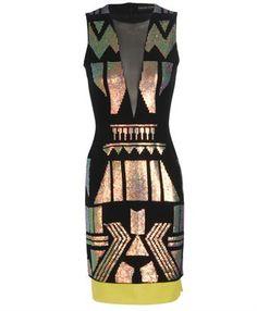 DAVID KOMA   HAND-SEQUINED CREPE WOOL PENCIL DRESS
