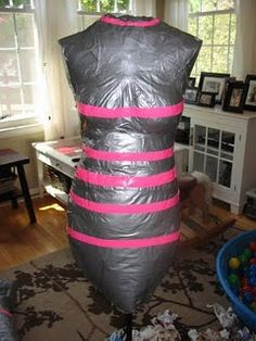 Home made dress form. Brilliant.  I never thought I would be able to afford one of these....