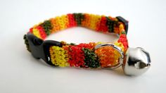 Adjustable Cat Collar with Bell Harvest Colors by BrumbysYarns, $10.00