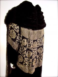Vintage French Page Couture Silk Velvet Metallic Bronze Gold Lame Opera Coat c. 1922