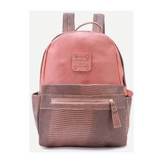 SheIn(sheinside) Pink Metallic Embellished PU Backpack (£14) ❤ liked on Polyvore featuring bags, backpacks, pink, rucksack bags, backpack bags, vintage backpacks, pink rucksack and python bag