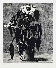 David Hockney, 'Sunflower I' Etching and aquatint, 1995.