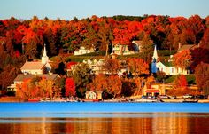 Autumn in the friendly town of Ephraim by Jeff Kudla on Capture Door County // The setting sun casts a warm glow over the town of ephraim