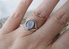 Modern Rainbow Moonstone Sterling Silver Ring by SwanTreasures