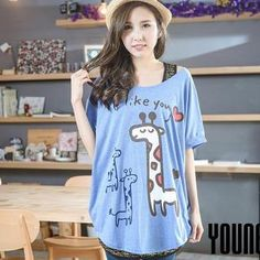 Short-Sleeve Giraffe-Print Loose-Fit Top from #YesStyle <3 YoungBaby YesStyle.com