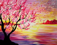Paint Nite: Discover a new night out and paint and sip wine with friends Easy Paintings, Beautiful Paintings, Paintings Of Trees, Cherry Blossom Painting, Cherry Blossoms, Blossom Trees, Pink Trees, Paint And Sip, Acrylic Art