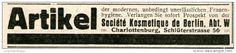 Original-Werbung/Anzeige 1914 - ARTIKEL DER FRAUENHYGIENE / SOCIÉTÉ KOSMÉTIQUE DE BERLIN - ca. 90 x 15 mm