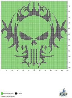PUNISHER LOGO by ACCALIA -- WALL HANGING Cross Stitch Kits, Cross Stitch Charts, Cross Stitch Designs, Cross Stitch Patterns, Plastic Canvas Christmas, Plastic Canvas Crafts, Plastic Canvas Patterns, Beading Patterns, Crochet Patterns