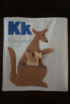 Kangaroo with zip for quiet book Lots of great ideas for alphabet book in this one