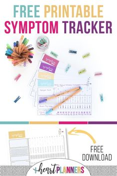 Get your free printable symptom tracker for your planner or bullet journal. Tracking your symptoms can give you a birds eye view of how your health fluctuates and what affects your mood and overall well being - helps monitor chronic pain.