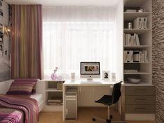 meuble bureau pour la chambre d'ado, colonne de rangement, literie et rideaux rayés assortis