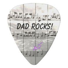 Dad Rocks! Music Notes Guitar Pick