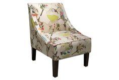 Fletcher Swoop-Arm Chair, Cream/Multi