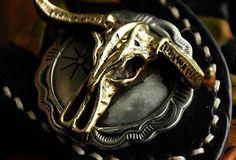 Handmade leather biker trucker wallet black skull floral leather chain | EverHandmade