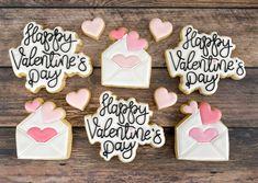 Valentine's Day Script and Envelopes Valentine Cookies, Envelopes, Script, Desserts, Food, Tailgate Desserts, Script Typeface, Deserts, Essen