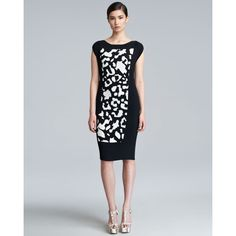Women's Escada Diba Accordion Pleated Dress, Black/White ($1,075) ❤ liked on Polyvore