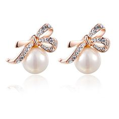 Fashion Women's Elegant Rose Gold Plated Jewelry Stud Dangle Bow Pearl Earrings Earbob Ear-Ring CY-Buity http://www.amazon.com/dp/B00N9X5H08/ref=cm_sw_r_pi_dp_YWfzub0TNYMT9