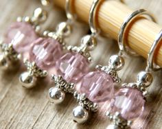 Snag Free Stitch Markers in Pink Crystal Set by TheRavelersRoost, $10.00